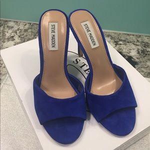 Royal electric blue suede slip on heels